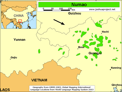 Map of Numao in China