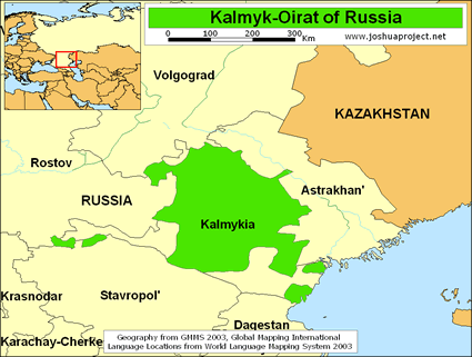 Map of Kalmyk-Oirat, Western Mongol in Russia
