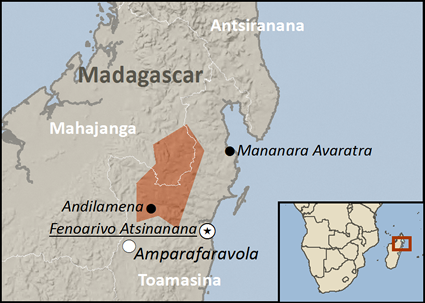 Map of Sihanaka in Madagascar