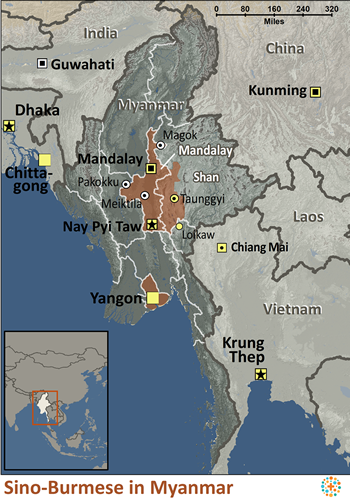 Map of Sino-Burmese in Myanmar (Burma)