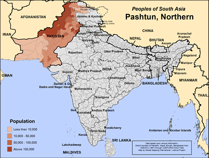 Map of Pashtun, Northern in France