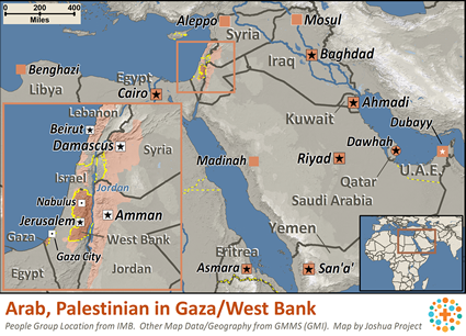 Map of Arab, Palestinian in West Bank / Gaza