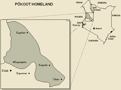Map of Kalenjin, Pokot in Kenya