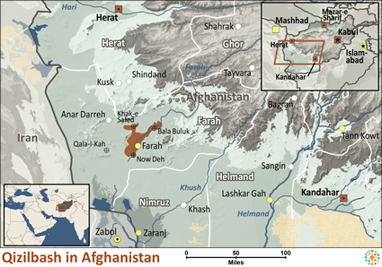 Map of Qasilbash in Afghanistan