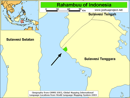 Map of Rahambuu in Indonesia