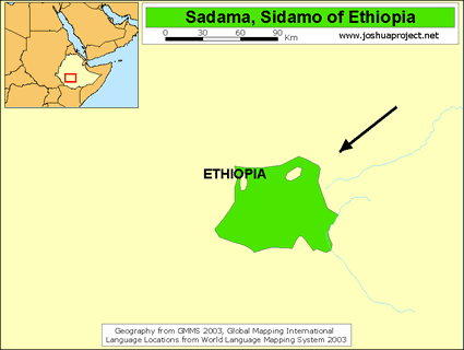 Map of Sidama in Ethiopia