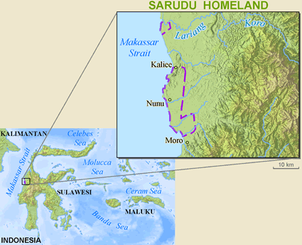 Map of Sarudu in Indonesia