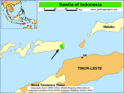 Map of Sawila in Indonesia