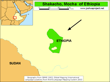 Map of Shekka in Ethiopia