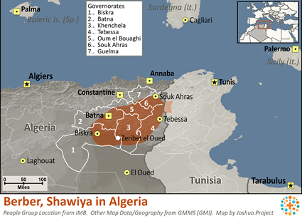 Map of Berber, Shawiya in Algeria