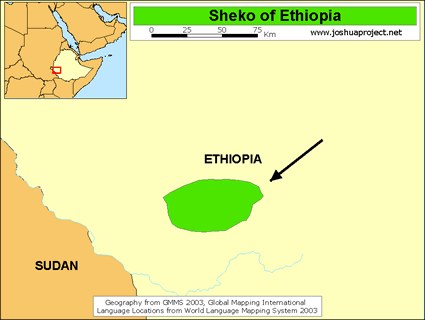 Map of Sheko in Ethiopia