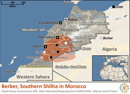 Map of Berber, Southern Shilha in Morocco