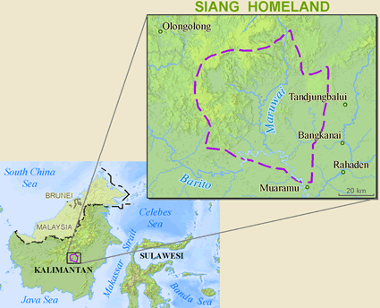 Map of Siang in Indonesia