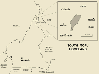Map of Mofu, South in Cameroon