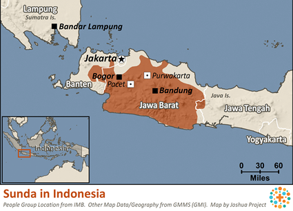 Map of Sunda in Indonesia