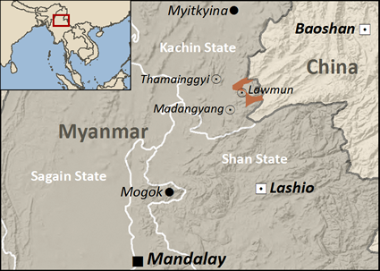 Map of Tai Nua, Chinese Shan in Myanmar (Burma)