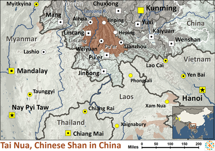 Map of Tai Nua, Chinese Shan in China