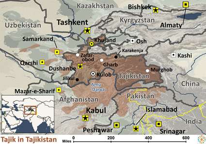Map of Tajik in Tajikistan