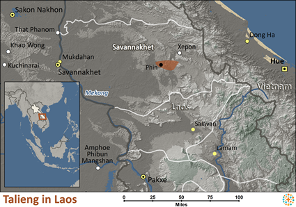 Map of Talieng in Laos
