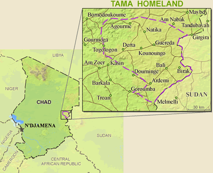 Map of Tama in Sudan