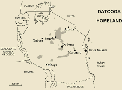 Map of Datooga, Barabaig in Tanzania