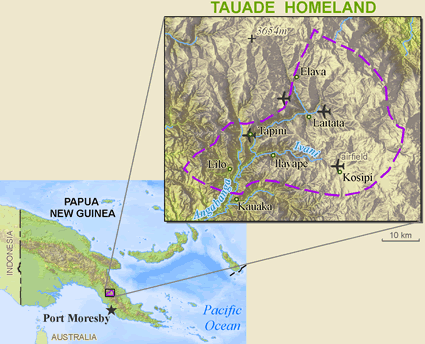Map of Tauade in Papua New Guinea