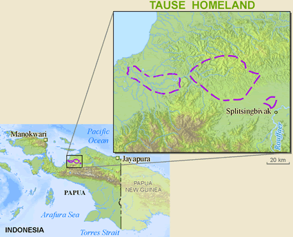 Map of Tause in Indonesia