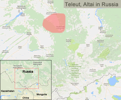 Map of Teleut, Altai in Russia