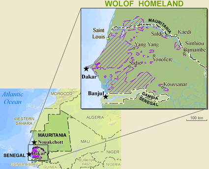 Map of Wolof in Mauritania