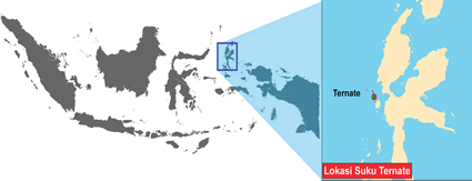 Map of Ternate in Indonesia