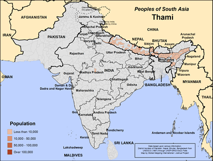 Map of Thami in India