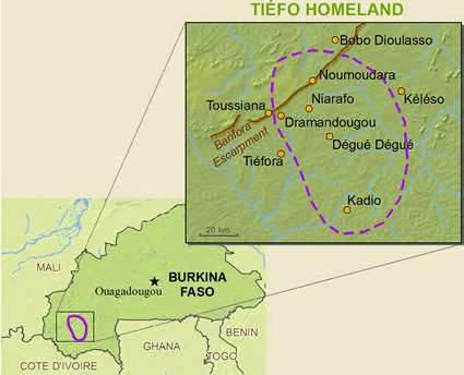 Map of Tiefo in Burkina Faso