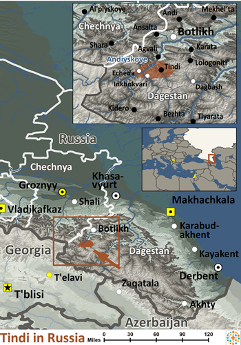 Map of Tindi in Russia