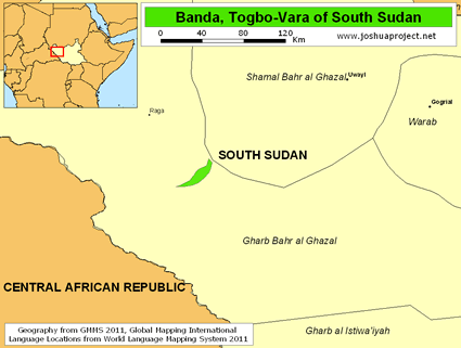 Map of Banda, Togbo-Vara in South Sudan