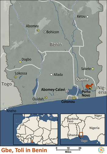 Map of Gbe, Toli in Benin