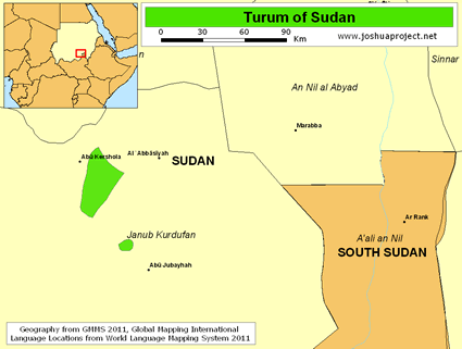 Map of Turum in Sudan