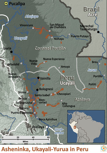 Map of Asheninka, Ucayali-Yurua in Peru