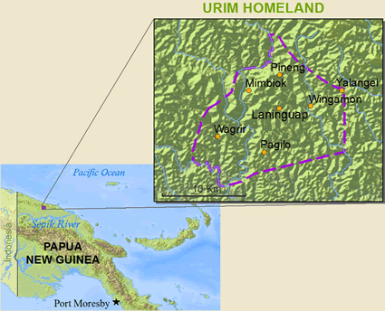 Map of Urim, Kalp in Papua New Guinea