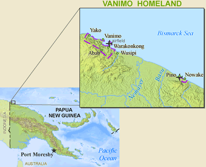Map of Vanimo in Papua New Guinea