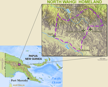 Map of Wahgi, North in Papua New Guinea