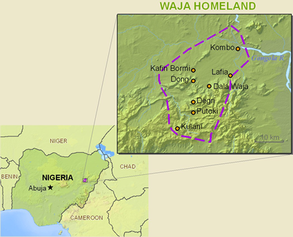 Map of Wagga in Nigeria