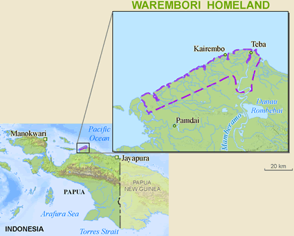 Map of Warembori in Indonesia