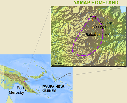 Map of Yamap in Papua New Guinea