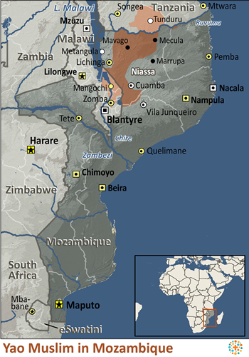 Map of Yao, Muslim in Mozambique
