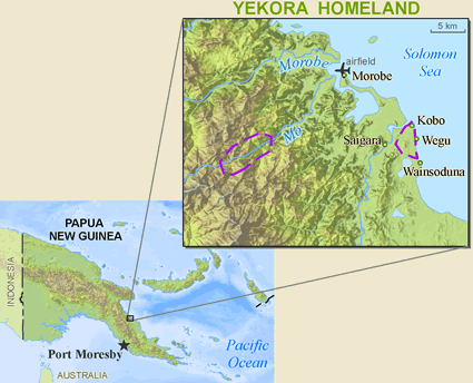 Map of Yekora in Papua New Guinea