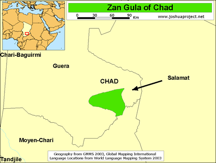 Map of Zan Gula in Chad