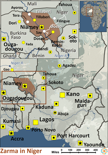 Map of Zarma in Niger