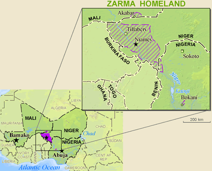 Map of Zarma in Burkina Faso