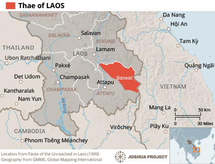 Map of Thae in Laos