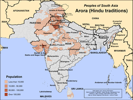 Map of Arora (Hindu traditions) in Pakistan
